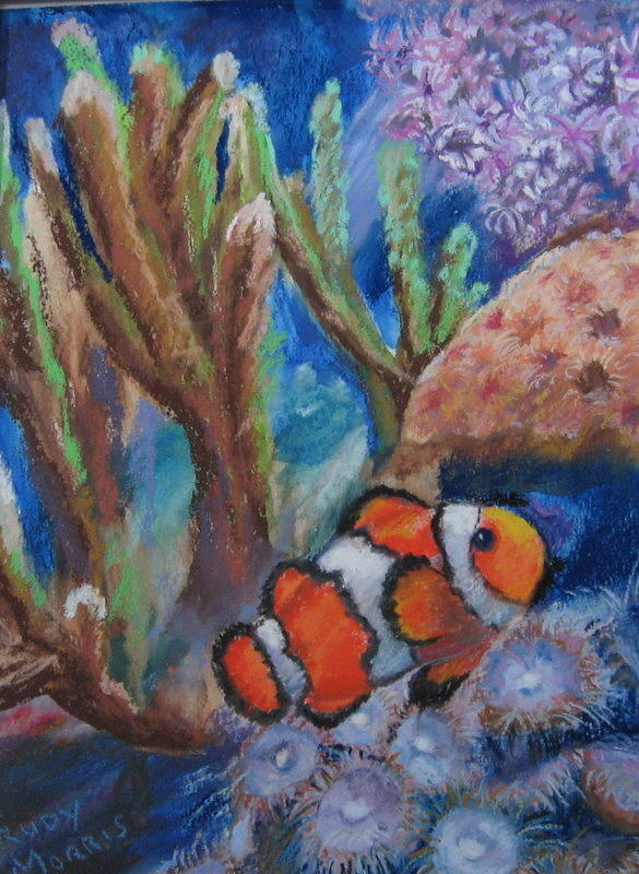 Fish Painting - Aquarium Clown by Trudy Morris