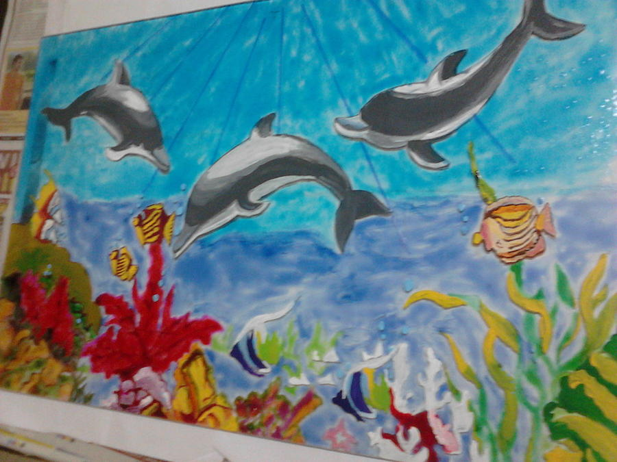 Aquarium on glass painting by khushboo kothari for Fish tank paint