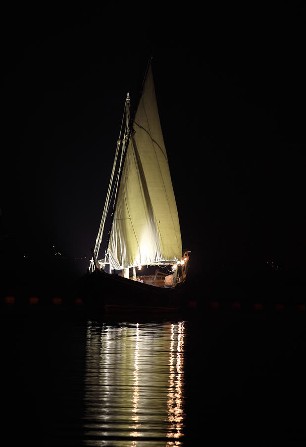 Arab Dhow At Night Photograph  - Arab Dhow At Night Fine Art Print