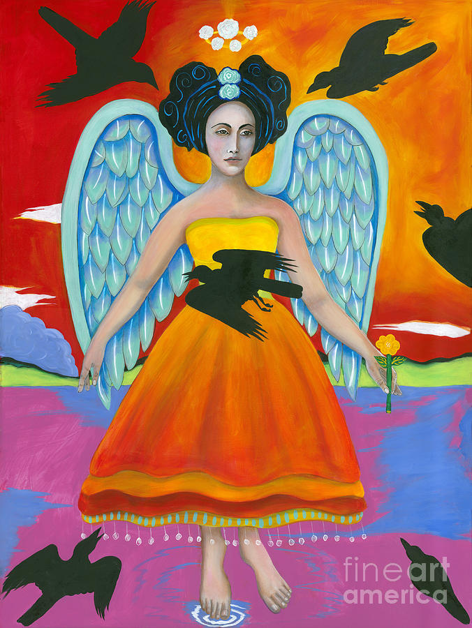 Religious Art Painting - Archangel Zadklie Comes To Calm The Brewing Storm by Christina Miller