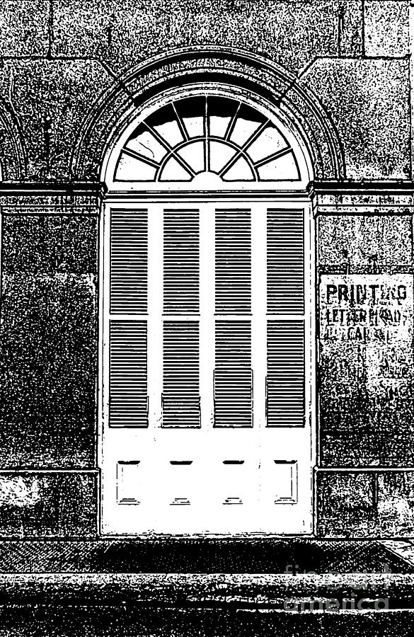 Arched White Shuttered Window French Quarter New Orleans Photocopy Digital Art  Photograph