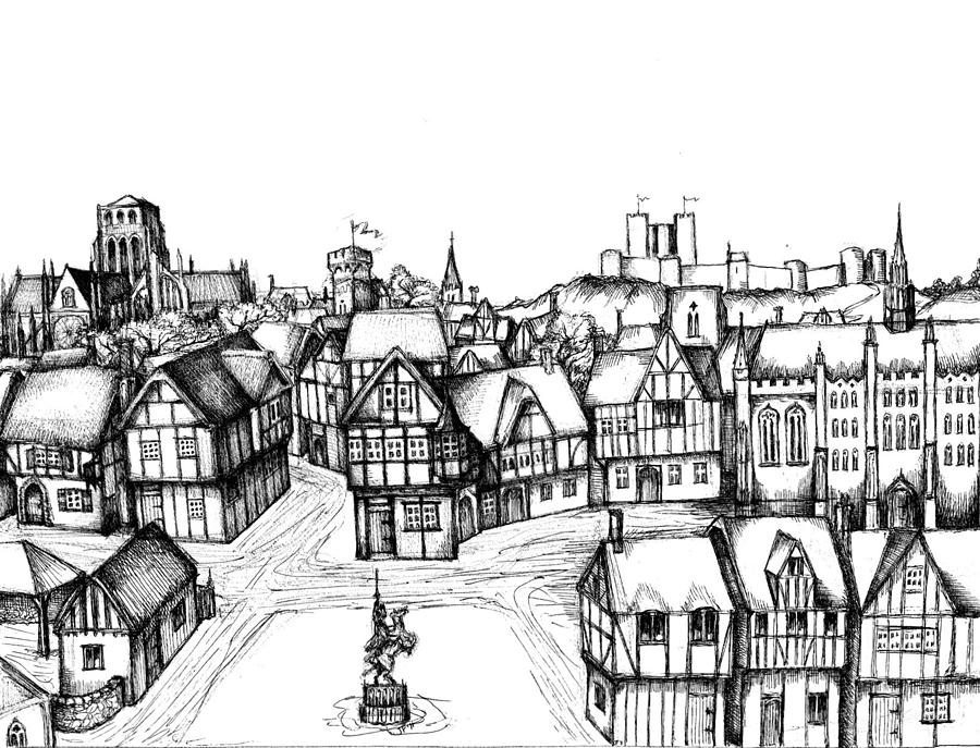 Architectural Evolution In An Urban Landscape 5 Drawing By James Falciano