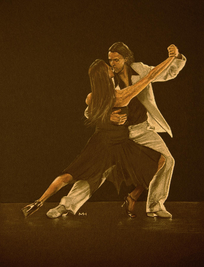 Argentine Tango Dancers Drawing