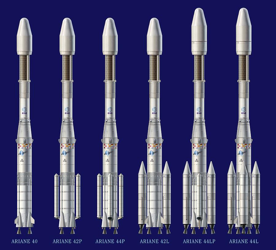 Ariane 4 Rocket Versions, Artwork Photograph  - Ariane 4 Rocket Versions, Artwork Fine Art Print