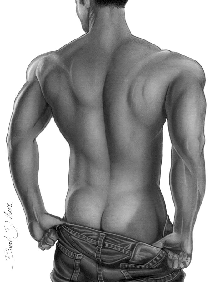 Ariks Back Drawing  - Ariks Back Fine Art Print