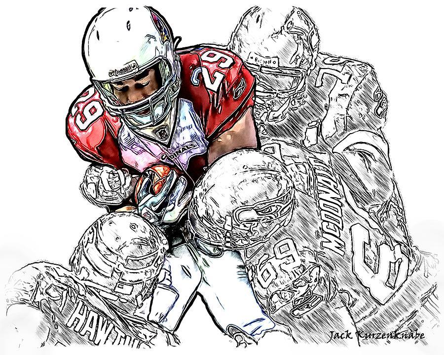 Arizona Cardinals Chester Taylor Seattle Seahawks David Hawthorne Clinton Mcdonald And Red Bryant Digital Art