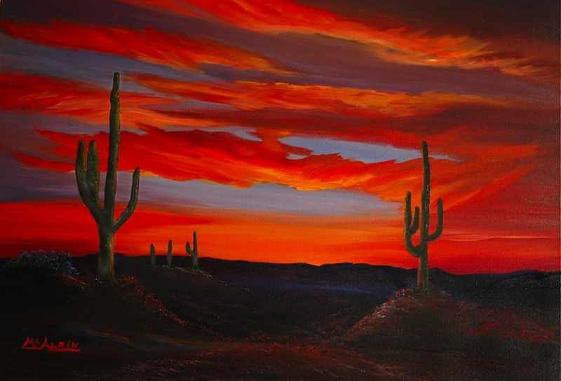 Clouds Painting - Arizona Sunset by Tom McAlpin