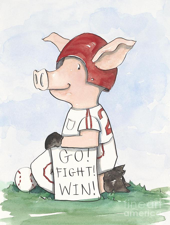 Arkansas Razorback Baseball Piggy Painting  - Arkansas Razorback Baseball Piggy Fine Art Print