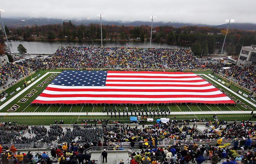 Army An American Flag Spans Michie Stadium Photograph