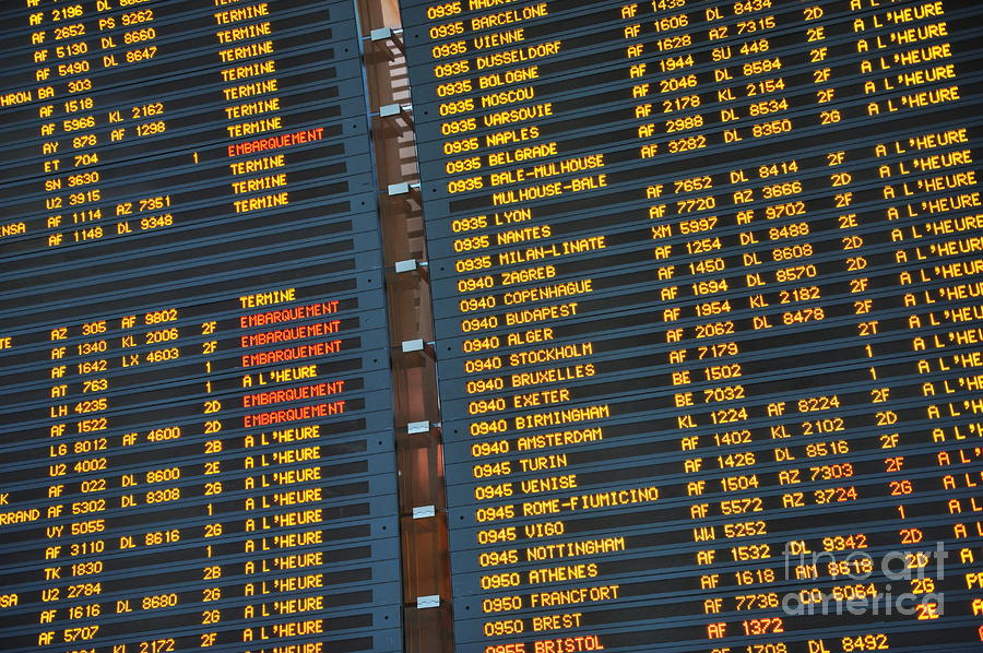 Arrival Board At Paris Charles De Gaulle International Airport Photograph