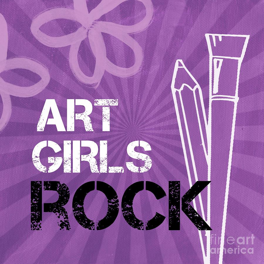 Art Girls Rock Mixed Media  - Art Girls Rock Fine Art Print