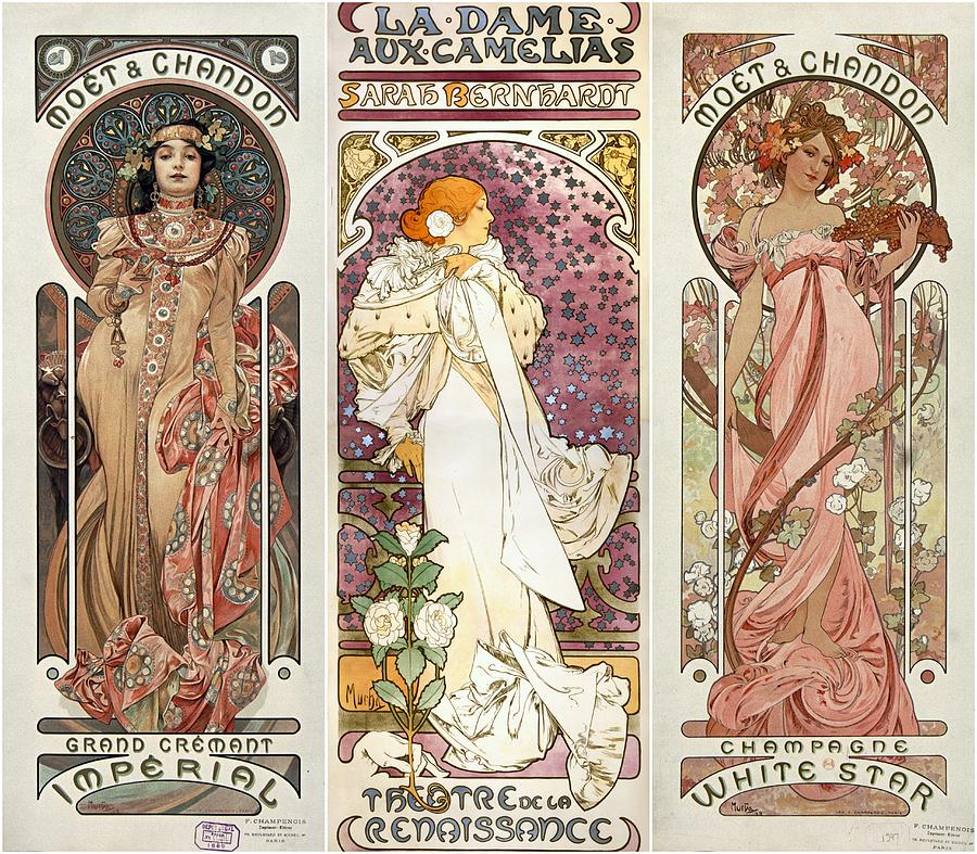 Art Noveau By Alfonse Mucha Collage Photograph