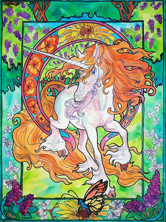 Art Nuevo Unicorn Painting