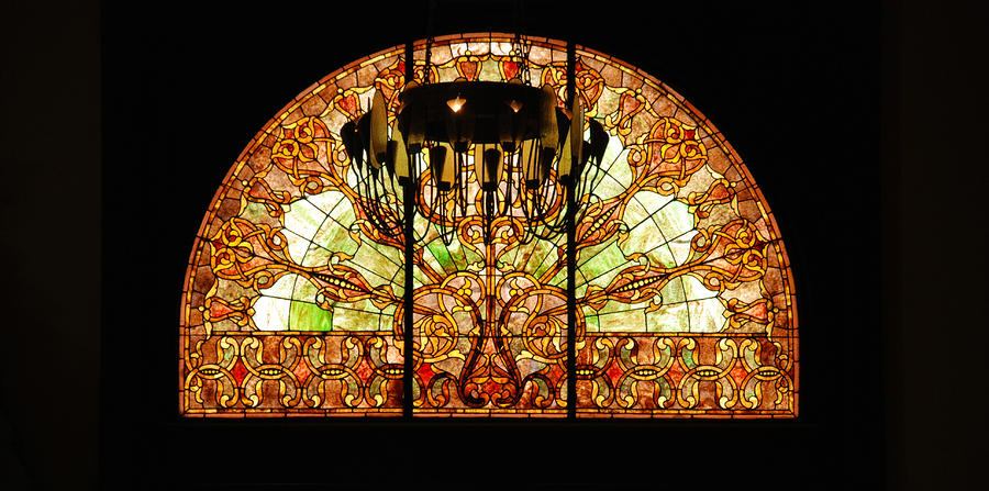 Artful Stained Glass Window Union Station Hotel Nashville Photograph