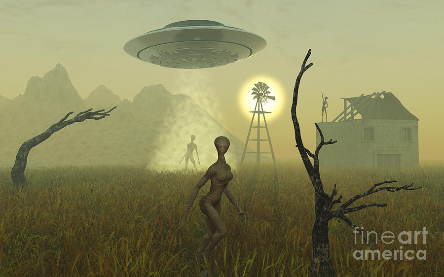 Artists Concept Of Alien Visitors Digital Art  - Artists Concept Of Alien Visitors Fine Art Print