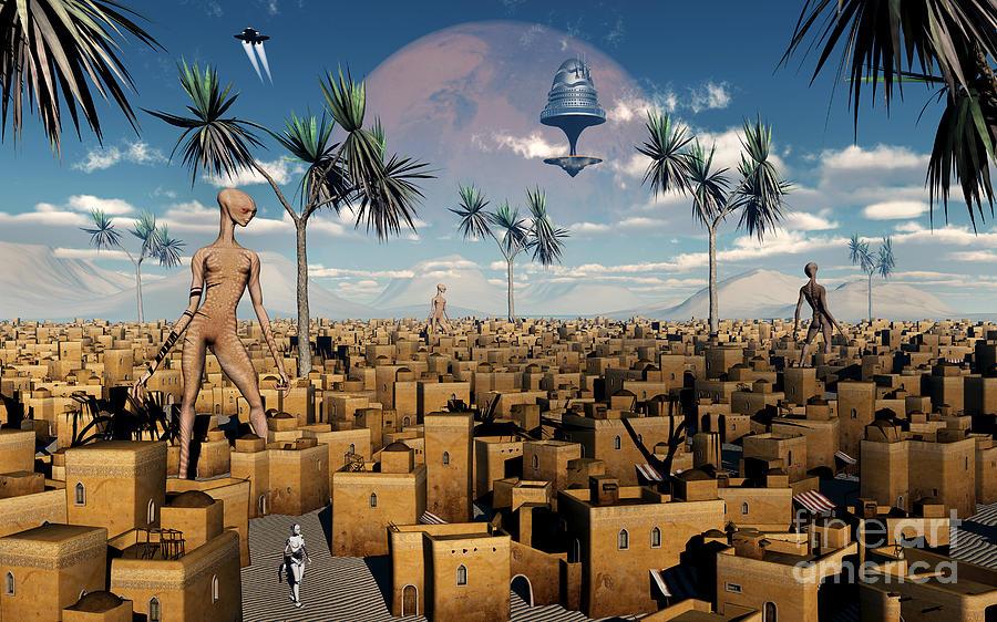 Artists Concept Of Aliens Visiting Digital Art