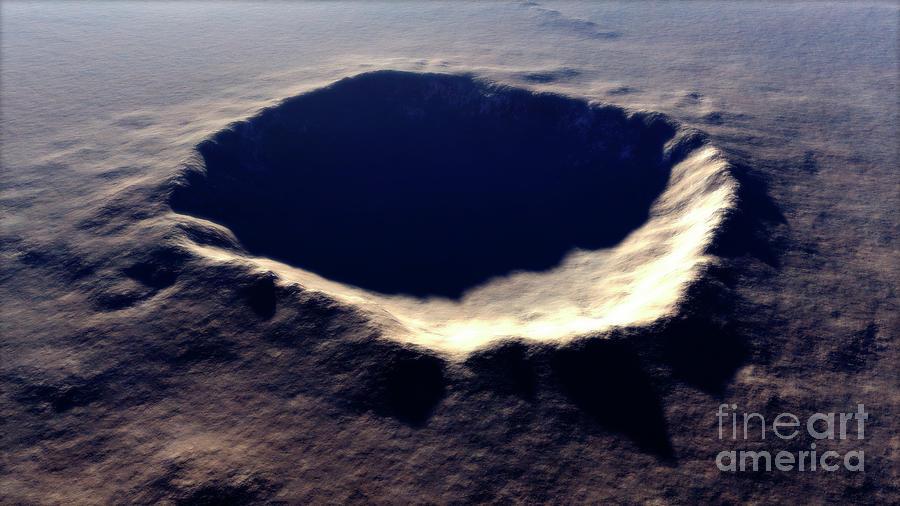 Artists Concept Of Meteor Crater Digital Art