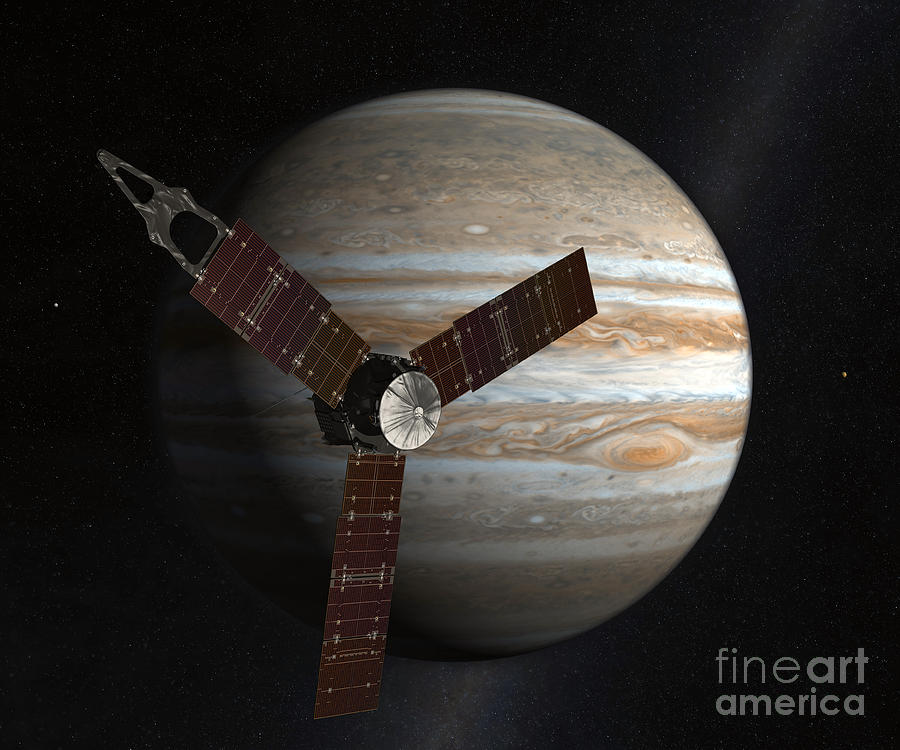 Artists Concept Of The Juno Spacecraft Digital Art  - Artists Concept Of The Juno Spacecraft Fine Art Print