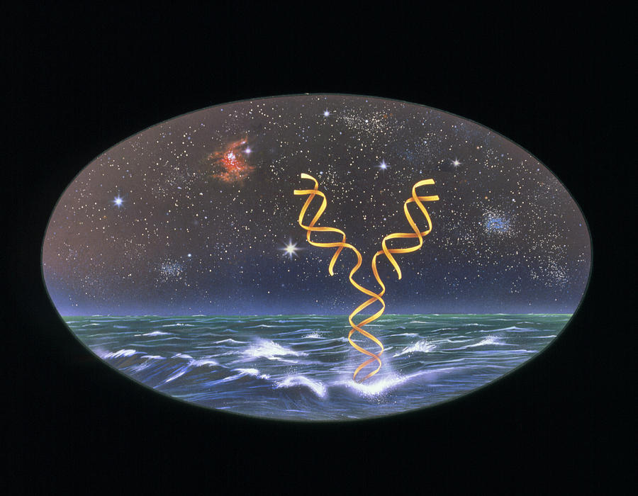 Artists Impression Of The Origin Of Life On Earth Photograph