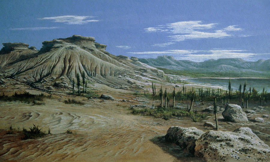 Artists Impression Of Triassic Period Landscape. Photograph