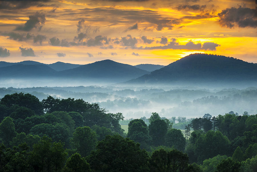 Asheville Nc Blue Ridge Mountains Sunset - Welcome To Asheville Photograph  - Asheville Nc Blue Ridge Mountains Sunset - Welcome To Asheville Fine Art Print