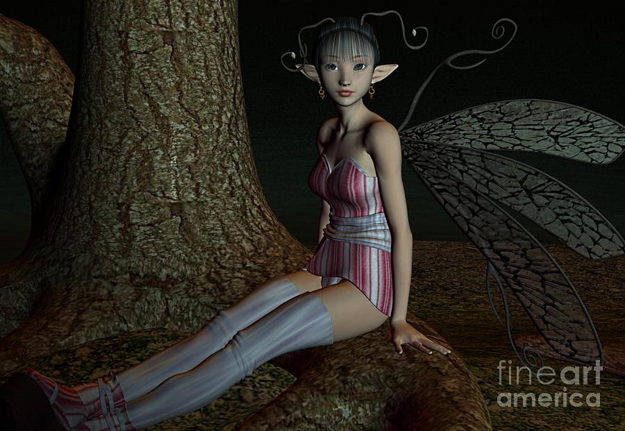 Asian Fae Digital Art  - Asian Fae Fine Art Print