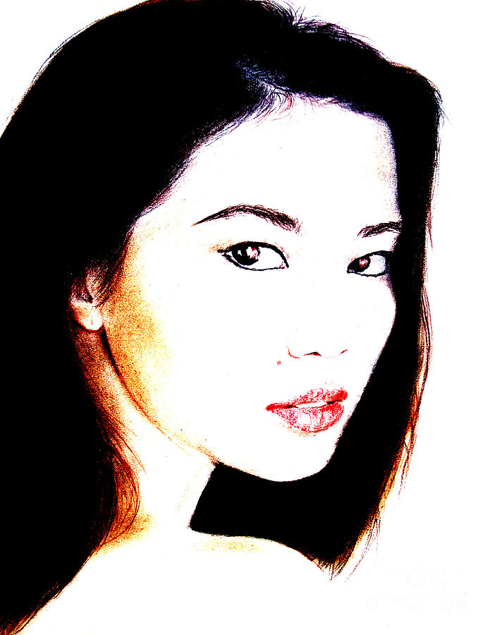 Freckle Faced Asian Beauty Drawing - Asian Model  by Jim Fitzpatrick
