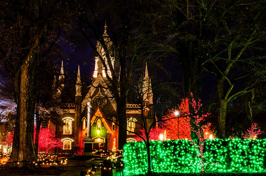 Slc Temple Photography Photograph - Assembly Hall Slc Christmas by La Rae  Roberts
