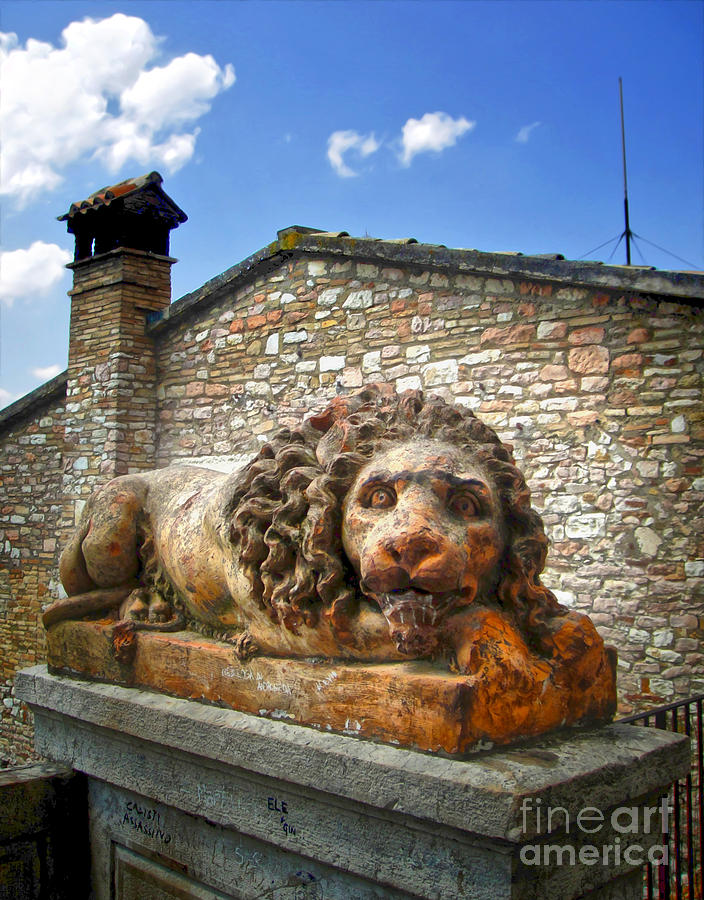Assisi Italy - Lion Statue Photograph