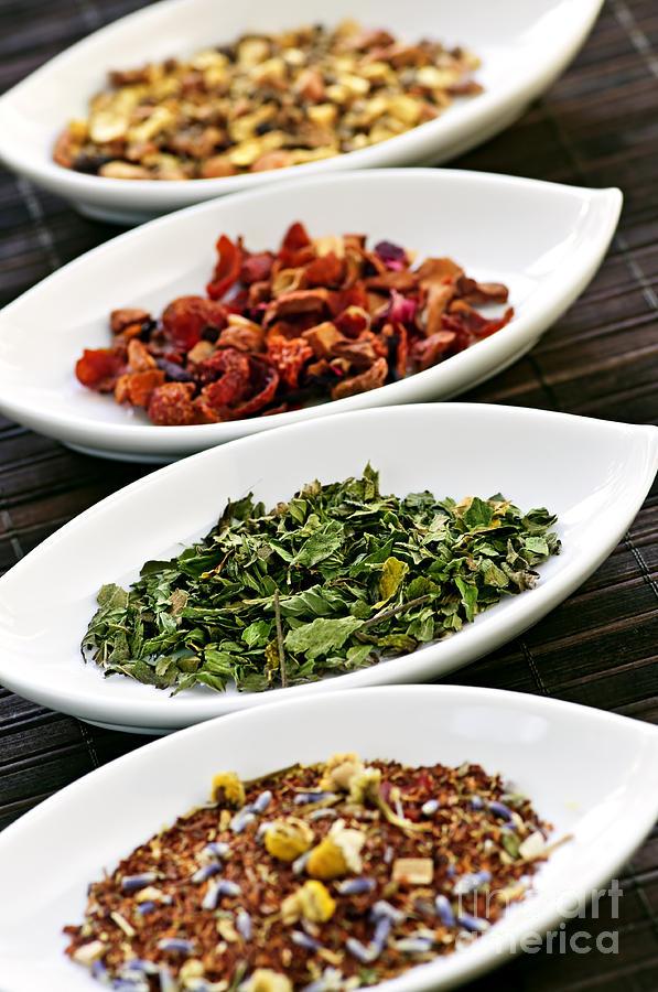 Tea Photograph - Assorted Herbal Wellness Dry Tea In Bowls by Elena Elisseeva