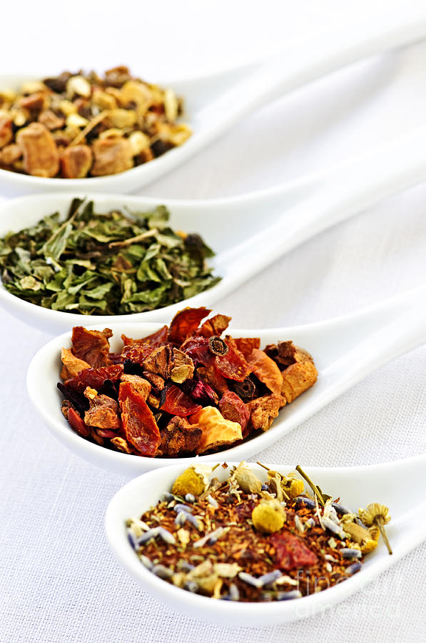 Assorted Herbal Wellness Dry Tea In Spoons Photograph