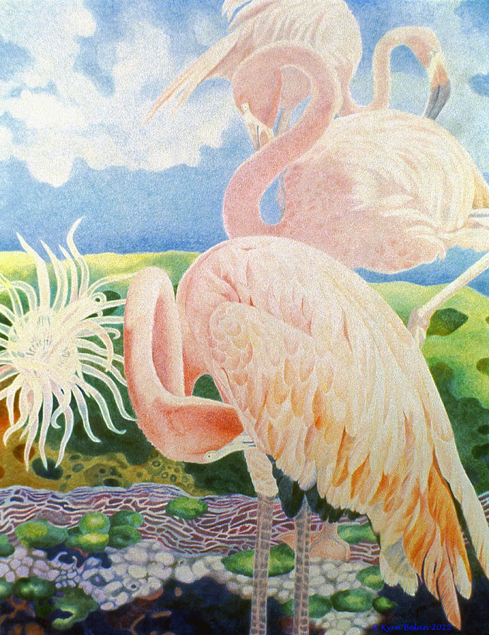 Pink Flamingos Are Surrounded By Surreal Landscape Of Anemone And Corals Drawing - Astartes Paradise IIi by Kyra Belan