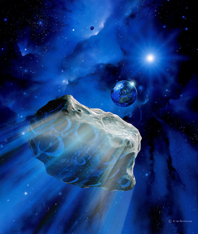 Astronomy Photograph - Asteroid Approaching Earth by Detlev Van Ravenswaay