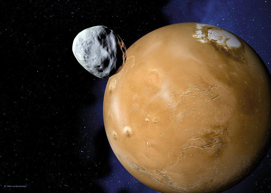 Mars Photograph - Asteroid Near Mars, Artwork by Detlev Van Ravenswaay
