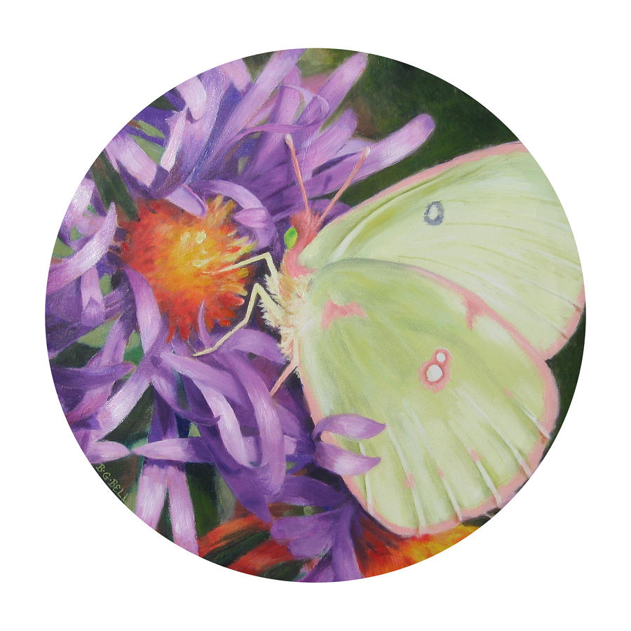 Asters And Butterfly Painting