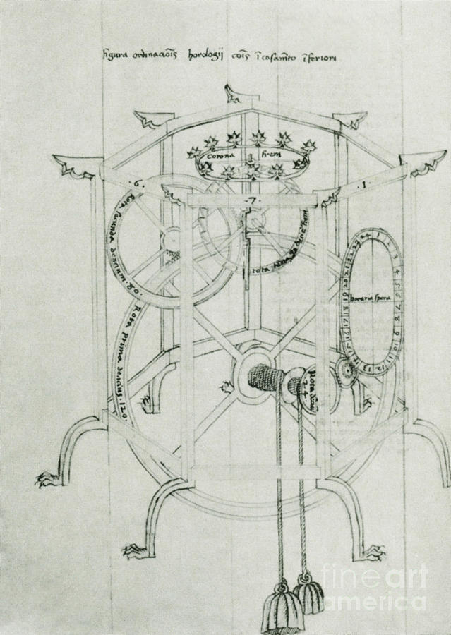 Astrarium Sketch By Giovanni De Dondi Photograph