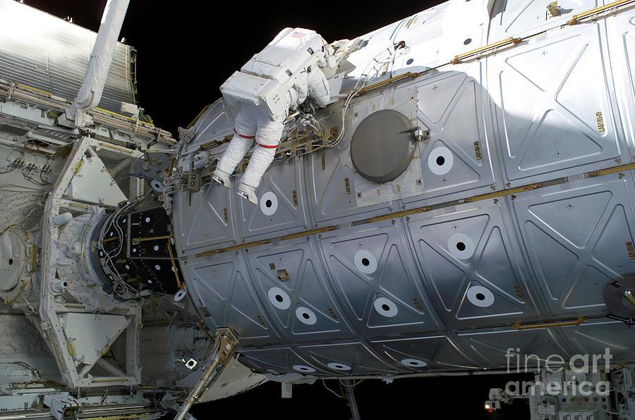 Color Image Photograph - Astronaut Traverses Along The Destiny by Stocktrek Images