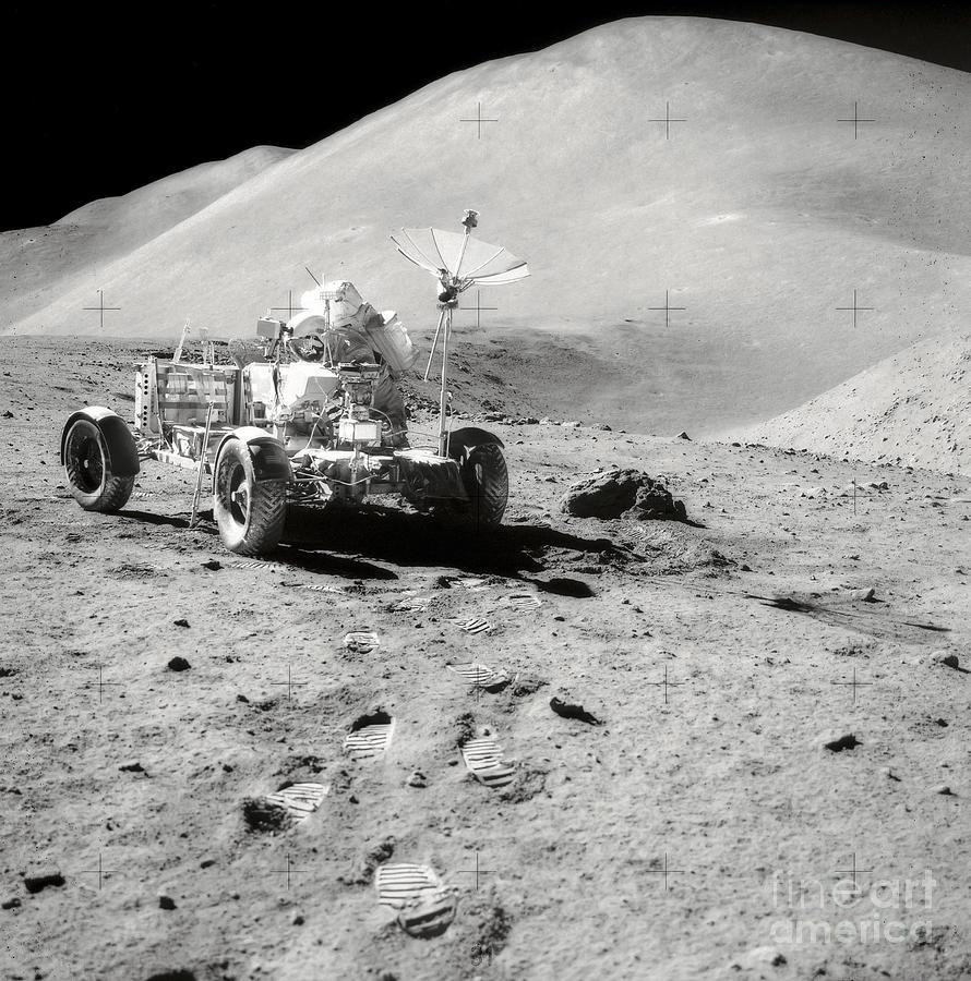 Astronaut Works At The Lunar Roving Photograph