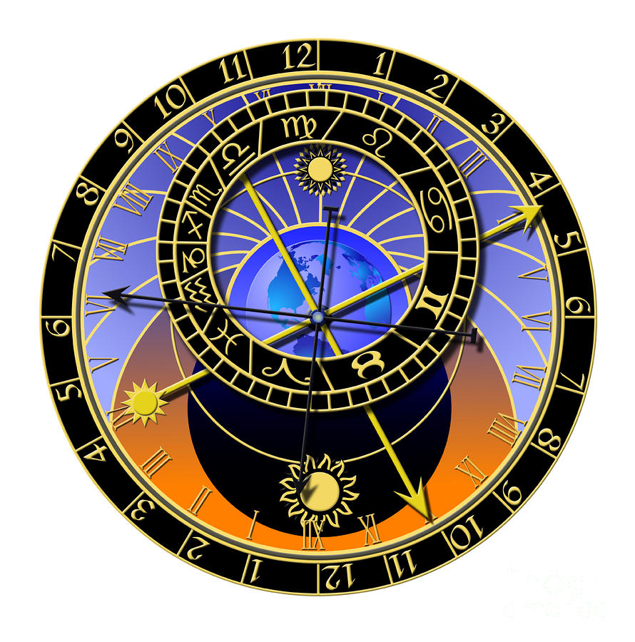 Astronomical Clock Digital Art  - Astronomical Clock Fine Art Print