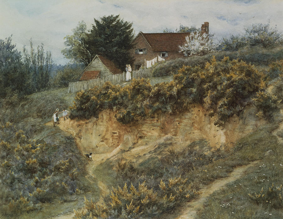 English; Landscape; Rural; C19th; C20th; Hill; Hilly; Cottage; Bank; Children; Playing; Victorian Painting - At Sandhills Witley by Helen Allingham