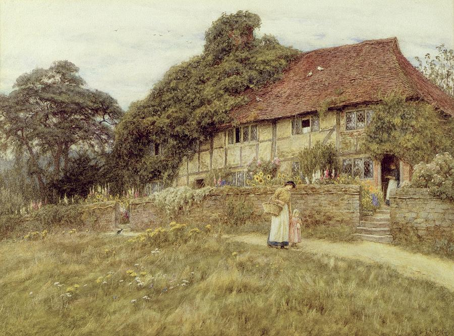 Female; Gate; Rural Scene; Country; Countryside; Home; Path; Garden; Wildflowers; Roses; Picturesque; Idyllic; Timber Frame; Half-timbered; House; Cottage; Mother And Child; Sunflowers; Daughter; Female Painting - At Stedham Near Midhurst by Helen Allingham