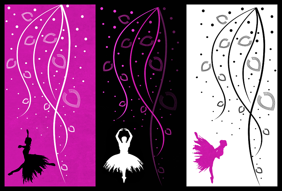 Ballet Digital Art - At The Ballet Triptych 2 by Angelina Vick