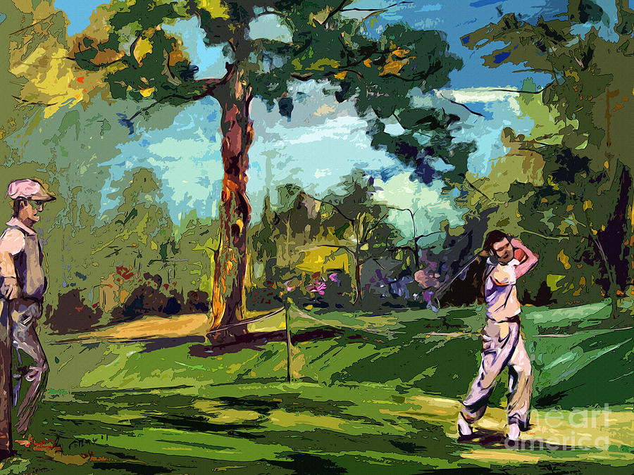 Golf Painting - At The Golf Course Vintage Golfers by Ginette Callaway