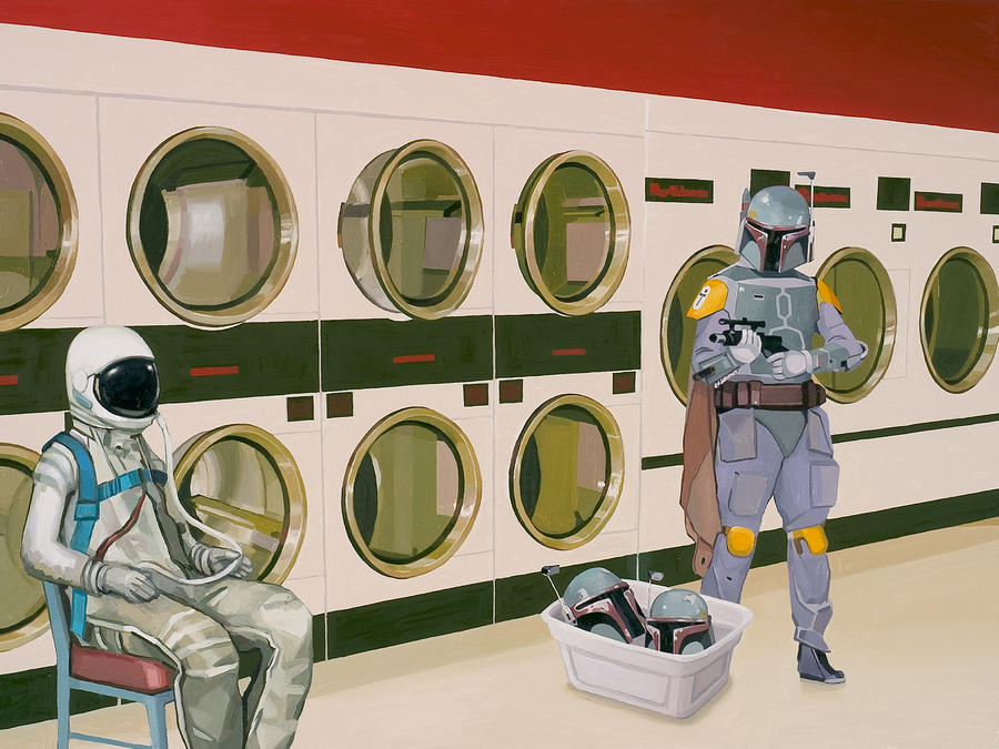 At The Laundromat With Boba Fett Painting  - At The Laundromat With Boba Fett Fine Art Print