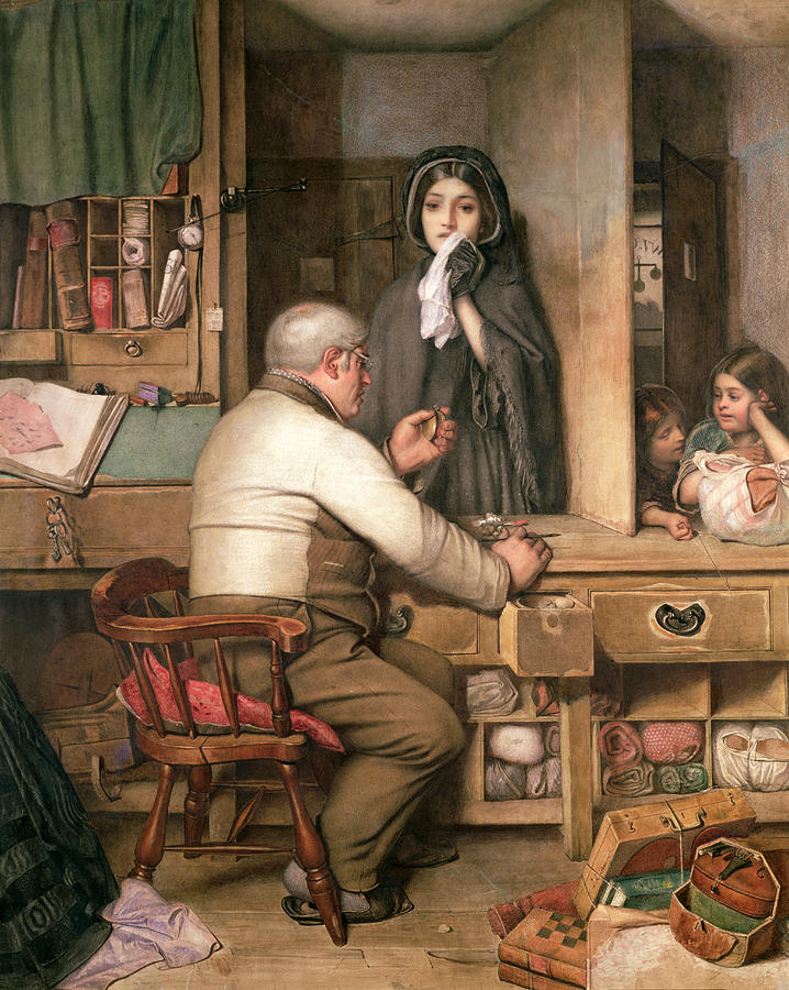 Female;violin;widow;pawnbroker;loan;poverty;pawning;distraught;poor;victorian;widows Weeds;mourning;office;desk;money;preteur Sur Gages Painting - At The Pawnbroker by Thomas Reynolds Lamont