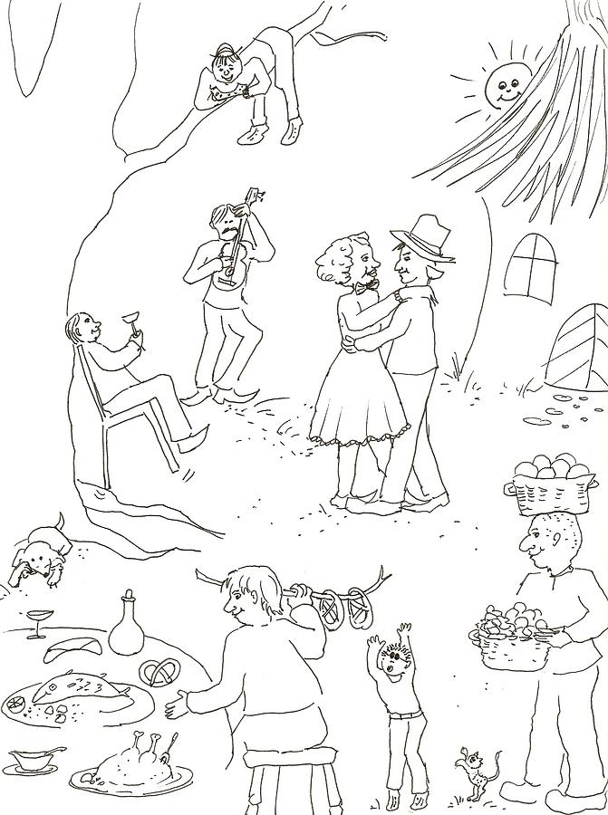 Wedding Drawing - At The Wedding by Vass Eva Rozsa