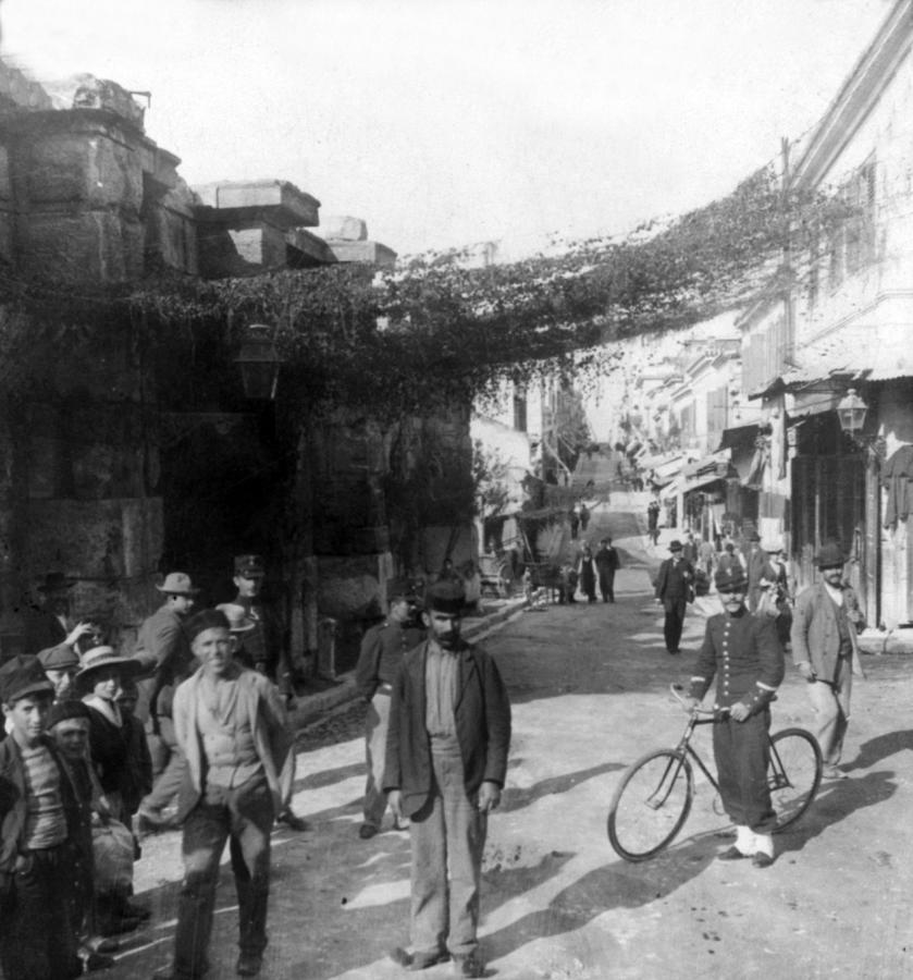 Athens Greece  C 1903 - Aeolos Street And The Stoa Of Hadrian Photograph  - Athens Greece  C 1903 - Aeolos Street And The Stoa Of Hadrian Fine Art Print
