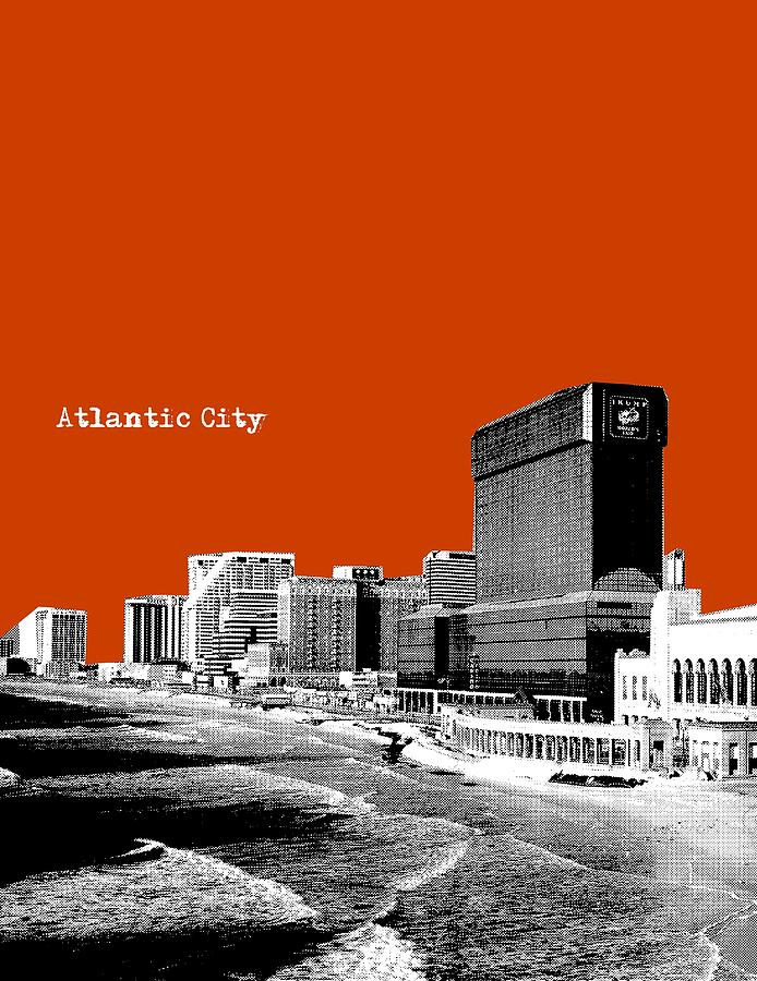 Atlantic City Nj New Jersey - Pop Art - Copper Red Painting  - Atlantic City Nj New Jersey - Pop Art - Copper Red Fine Art Print