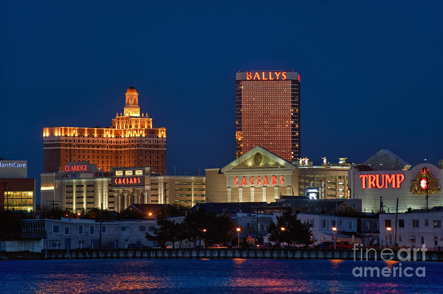 Atlantic City Skyline At Night. Photograph  - Atlantic City Skyline At Night. Fine Art Print