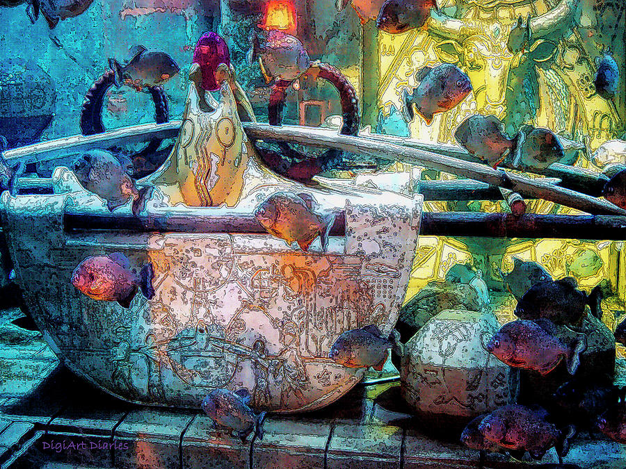 Atlantis Aquarium In Watercolor Digital Art  - Atlantis Aquarium In Watercolor Fine Art Print